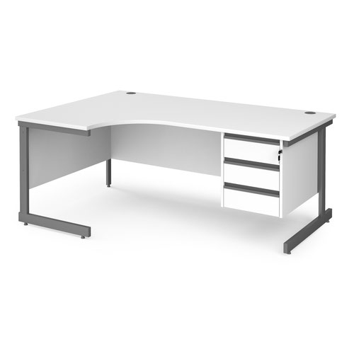 Contract 25 left hand ergonomic desk with 3 drawer pedestal and graphite cantilever leg 1800mm - white top