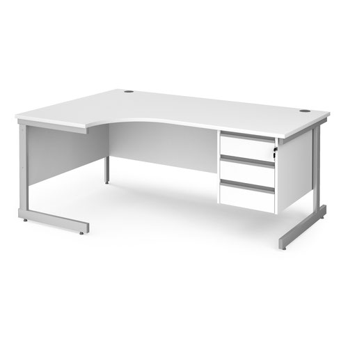 Contract 25 left hand ergonomic desk with 3 drawer pedestal and silver cantilever leg 1800mm - white top