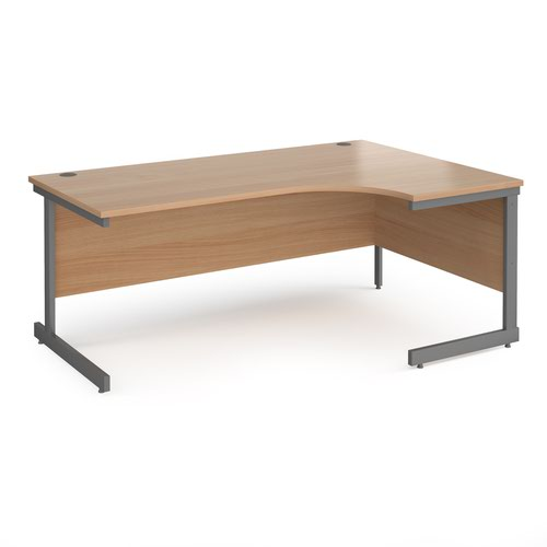 Contract 25 right hand ergonomic desk with graphite cantilever leg 1800mm - beech top
