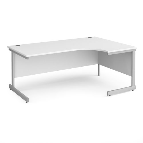 Contract 25 right hand ergonomic desk with silver cantilever leg 1800mm - white top