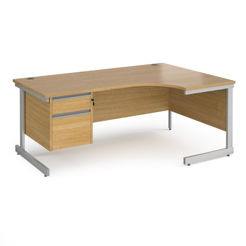Contract 25 right hand ergonomic desk with 2 drawer pedestal and silver cantilever leg 1800mm - oak top