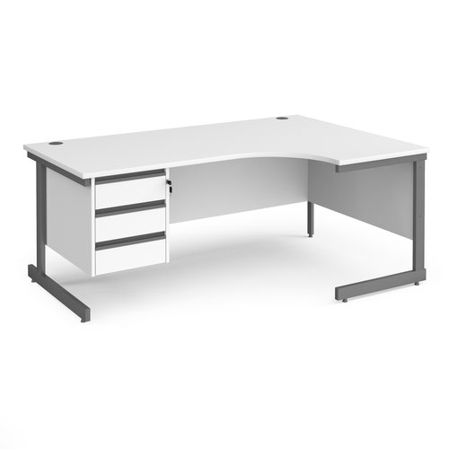 Contract 25 right hand ergonomic desk with 3 drawer pedestal and graphite cantilever leg 1800mm - white top