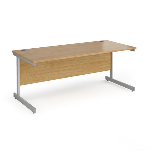 Contract 25 straight desk with silver cantilever leg 1800mm x 800mm - oak top