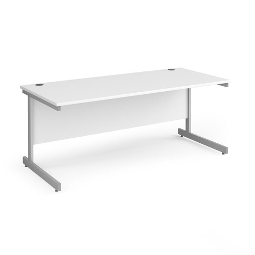 Contract 25 straight desk with silver cantilever leg 1800mm x 800mm - white top