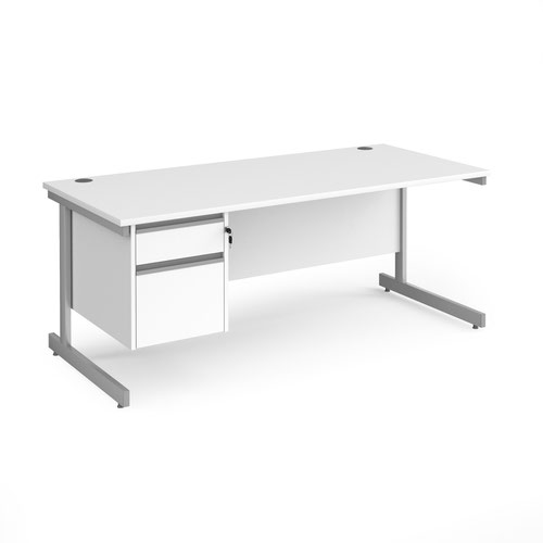 Contract 25 straight desk with 2 drawer pedestal and silver cantilever leg 1800mm x 800mm - white top