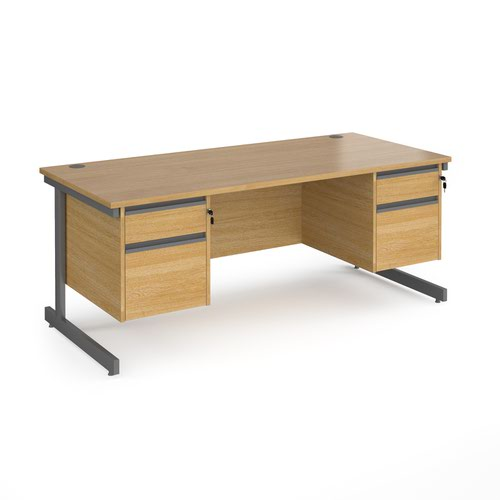 Contract 25 straight desk with 2 and 2 drawer pedestals and graphite cantilever leg 1800mm x 800mm - oak top