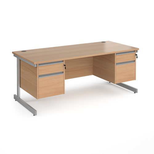 Contract 25 straight desk with 2 and 2 drawer pedestals and silver cantilever leg 1800mm x 800mm - beech top