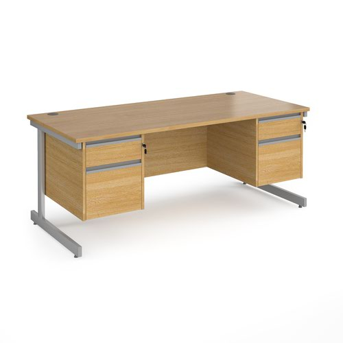 Contract 25 straight desk with 2 and 2 drawer pedestals and silver cantilever leg 1800mm x 800mm - oak top