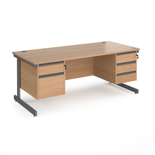 Contract 25 straight desk with 2 and 3 drawer pedestals and graphite cantilever leg 1800mm x 800mm - beech top