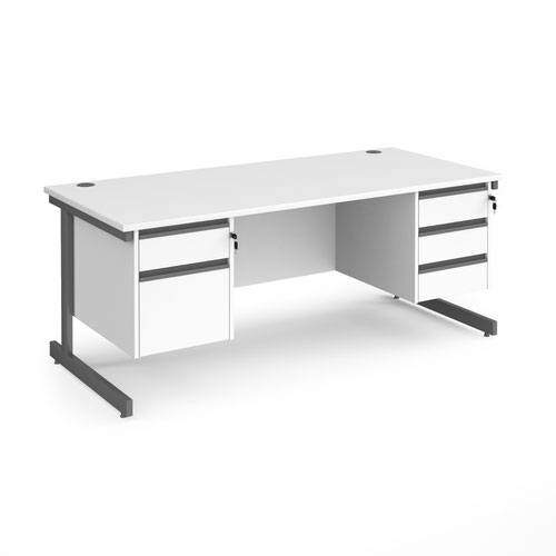 Contract 25 straight desk with 2 and 3 drawer pedestals and graphite cantilever leg 1800mm x 800mm - white top