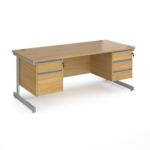 Contract 25 straight desk with 2 and 3 drawer pedestals and silver cantilever leg 1800mm x 800mm - oak top