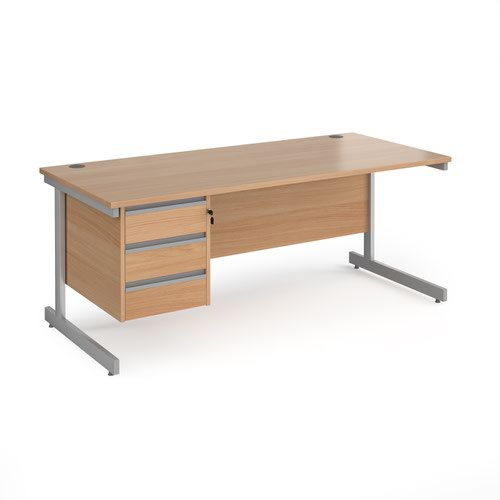 Contract 25 straight desk with 3 drawer pedestal and silver cantilever leg 1800mm x 800mm - beech top