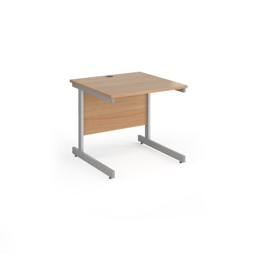 Contract 25 straight desk with silver cantilever leg 800mm x 800mm - beech top