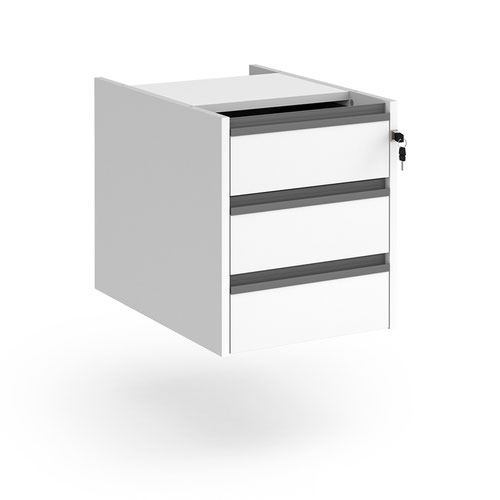 Contract 3 drawer fixed pedestal with graphite finger pull handles - white