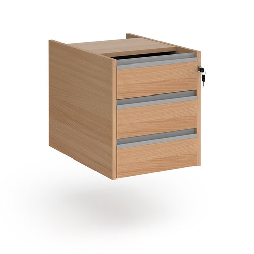 Contract 3 drawer fixed pedestal with silver finger pull handles - beech