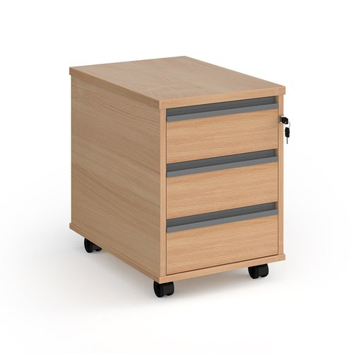 Contract 3 drawer mobile pedestal with graphite finger pull handles - beech