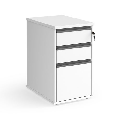 Contract 3 drawer desk high pedestal 600mm deep with graphite finger pull handles - white