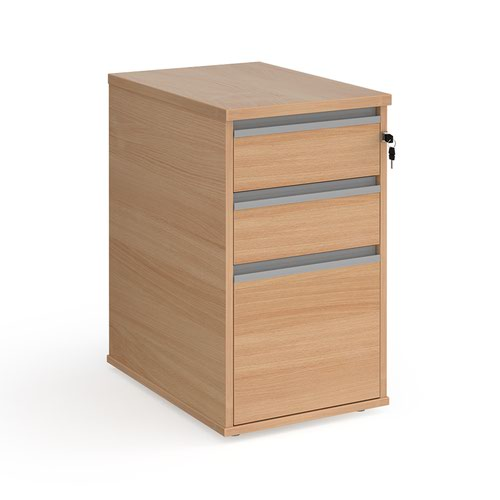 Contract 3 drawer desk high pedestal 600mm deep with silver finger pull handles - beech
