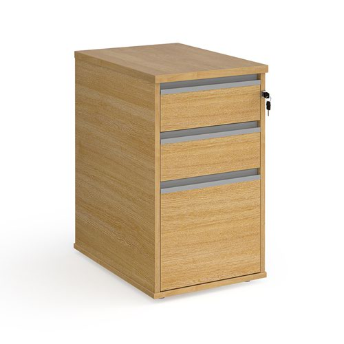 Contract 3 drawer desk high pedestal 600mm deep with silver finger pull handles - oak