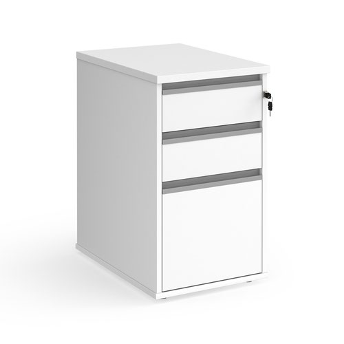 Contract 3 drawer desk high pedestal 600mm deep with silver finger pull handles - white