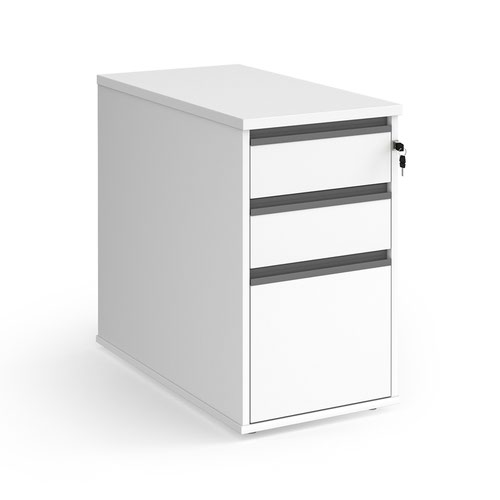 Contract 3 drawer desk high pedestal 800mm deep with graphite finger pull handles - white