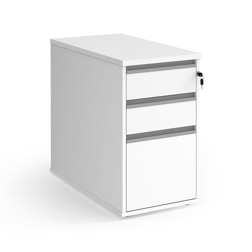 Contract 3 drawer desk high pedestal with silver finger pull handles - white