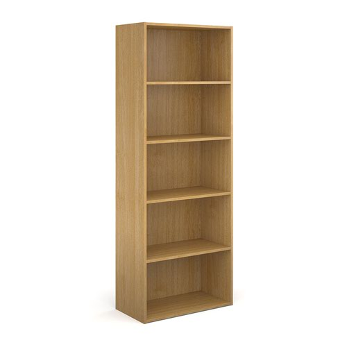 Contract bookcase 2030mm high with 4 shelves - oak
