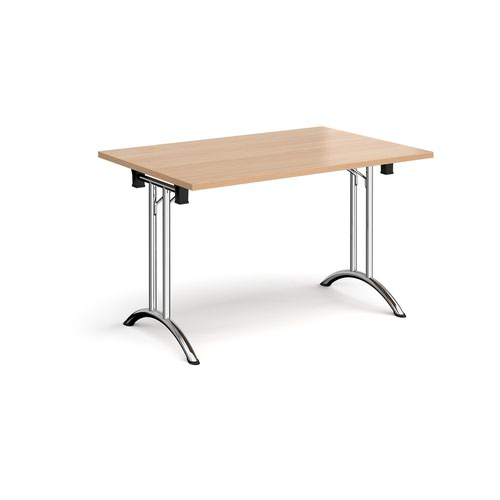 Rectangular folding leg table with chrome legs and curved foot rails 1200mm x 800mm - beech