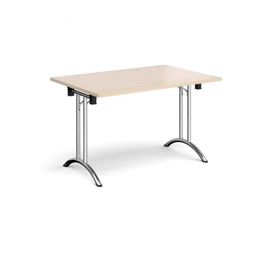 Rectangular folding leg table with chrome legs and curved foot rails 1200mm x 800mm - maple
