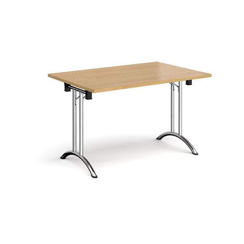 Rectangular folding leg table with chrome legs and curved foot rails 1200mm x 800mm - oak