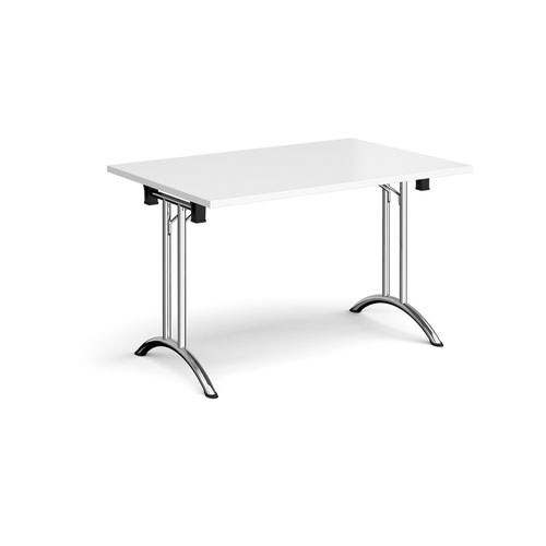 Rectangular folding leg table with chrome legs and curved foot rails 1200mm x 800mm - white