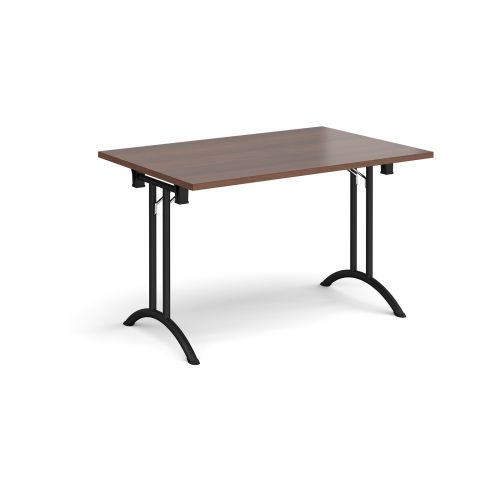 Rectangular folding leg table with black legs and curved foot rails 1200mm x 800mm - walnut