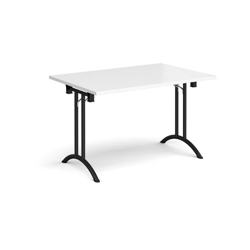 Rectangular folding leg table with black legs and curved foot rails 1200mm x 800mm - white