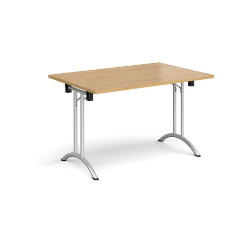 Rectangular folding leg table with silver legs and curved foot rails 1200mm x 800mm - oak