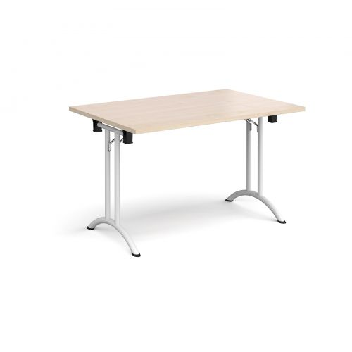 Rectangular folding leg table with white legs and curved foot rails 1200mm x 800mm - maple