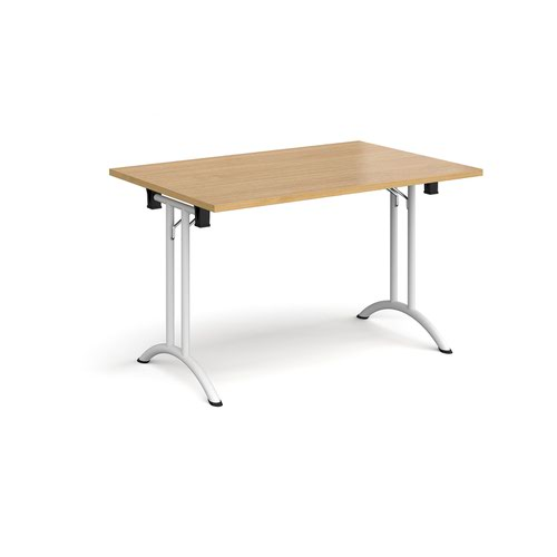 Rectangular folding leg table with white legs and curved foot rails 1200mm x 800mm - oak