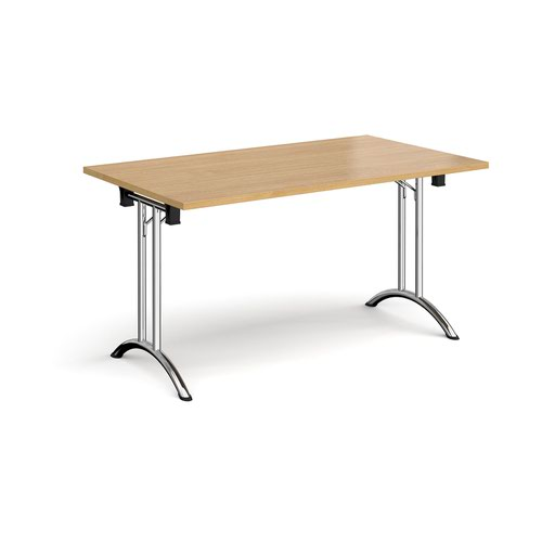 Rectangular folding leg table with chrome legs and curved foot rails 1400mm x 800mm - oak