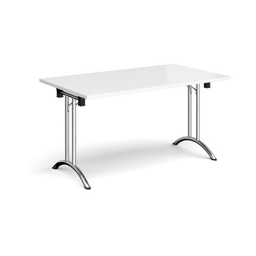 Rectangular folding leg table with chrome legs and curved foot rails 1400mm x 800mm - white