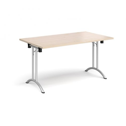 Rectangular folding leg table with silver legs and curved foot rails 1400mm x 800mm - maple