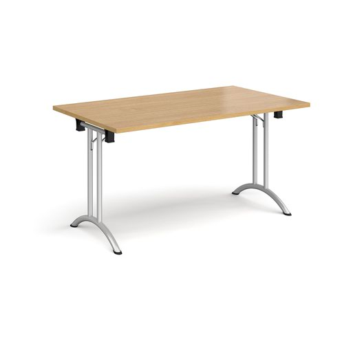 Rectangular folding leg table with silver legs and curved foot rails 1400mm x 800mm - oak