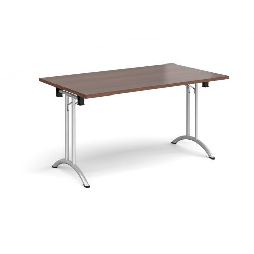 Rectangular folding leg table with silver legs and curved foot rails 1400mm x 800mm - walnut