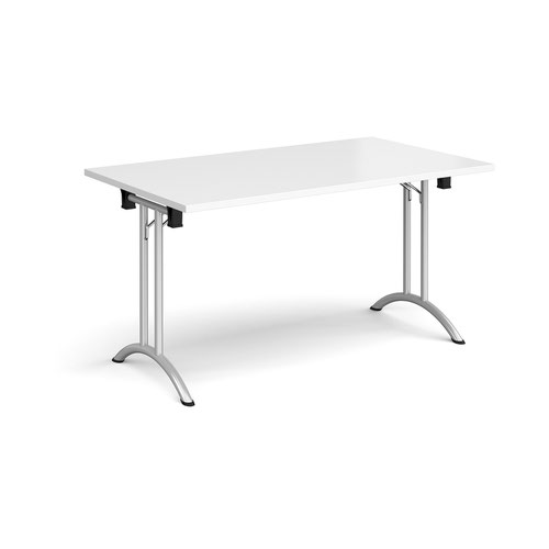 Rectangular folding leg table with silver legs and curved foot rails 1400mm x 800mm - white