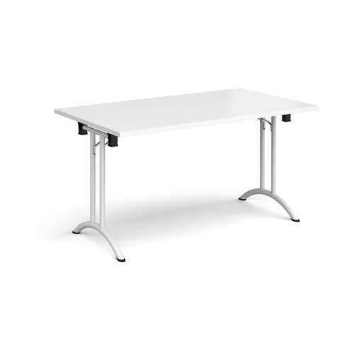 Rectangular folding leg table with white legs and curved foot rails 1400mm x 800mm - white