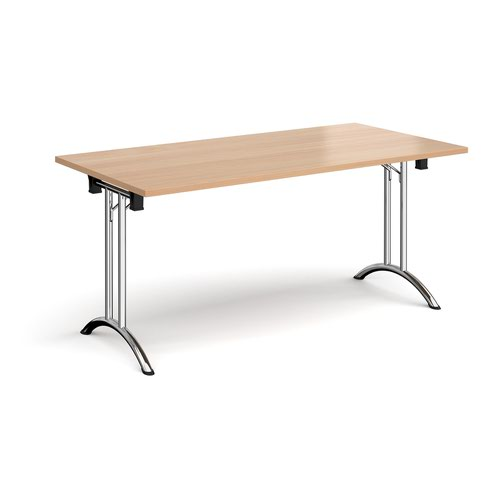 Rectangular folding leg table with chrome legs and curved foot rails 1600mm x 800mm - beech