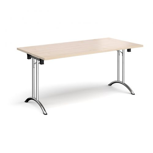 Rectangular folding leg table with chrome legs and curved foot rails 1600mm x 800mm - maple
