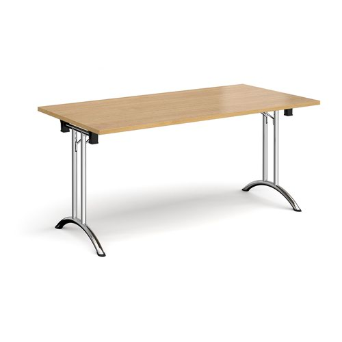 Rectangular folding leg table with chrome legs and curved foot rails 1600mm x 800mm - oak