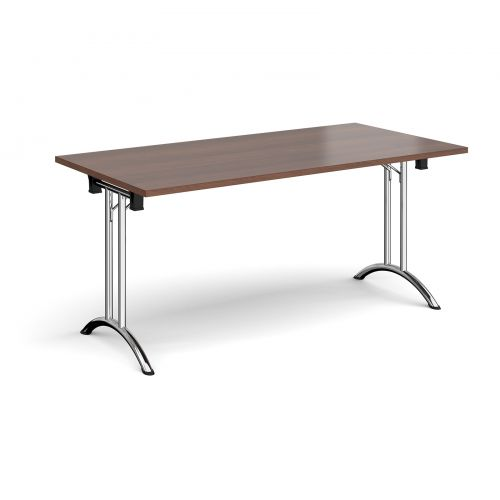 Rectangular folding leg table with chrome legs and curved foot rails 1600mm x 800mm - walnut