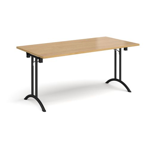 Rectangular folding leg table with black legs and curved foot rails 1600mm x 800mm - oak