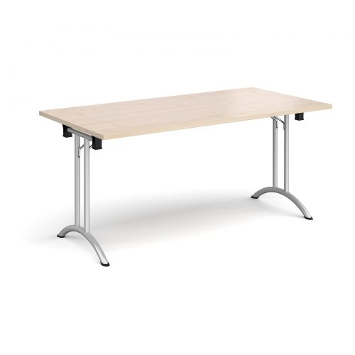 Rectangular folding leg table with silver legs and curved foot rails 1600mm x 800mm - maple