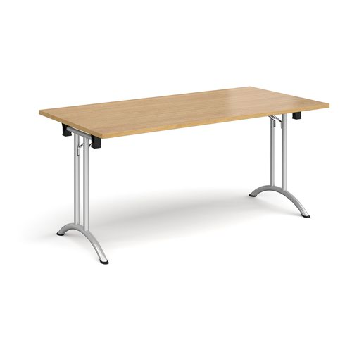 Rectangular folding leg table with silver legs and curved foot rails 1600mm x 800mm - oak